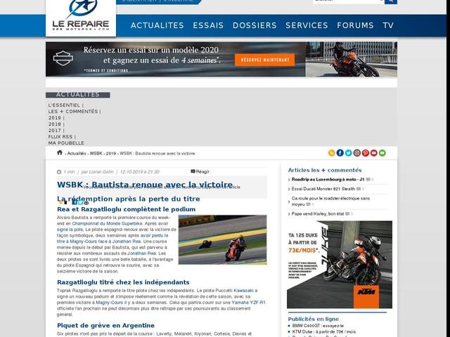 WSBK : Bautista renoue avec la victoire