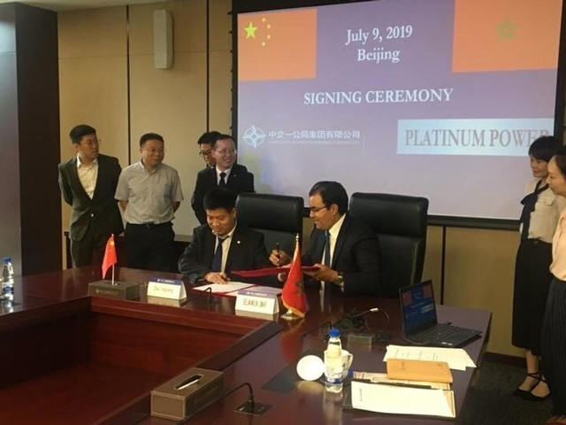 Signature d'un accord entre Platinum Power et le chinois CFHEC