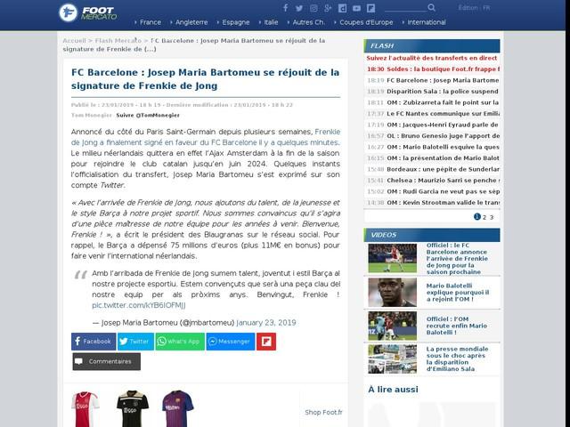 FC Barcelone : Josep Maria Bartomeu se réjouit de la signature de Frenkie de Jong