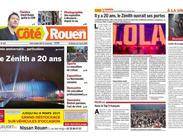 Histoire et souvenirs : les 20 ans du Zénith à la Une de Côté Rouen cette semaine