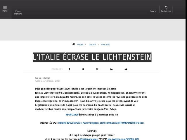 Football - Euro 2020 - L'Italie écrase le Lichtenstein