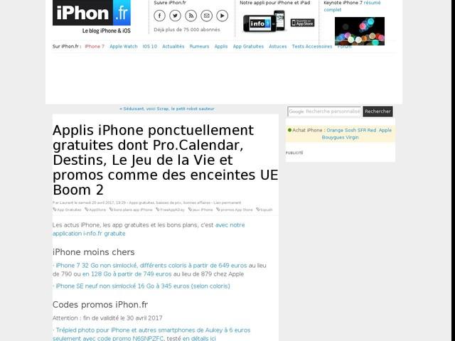 Applis iPhone ponctuellement gratuites dont Pro.Calendar, Destins, Le Jeu de la Vie et promos comme des enceintes UE Boom 2