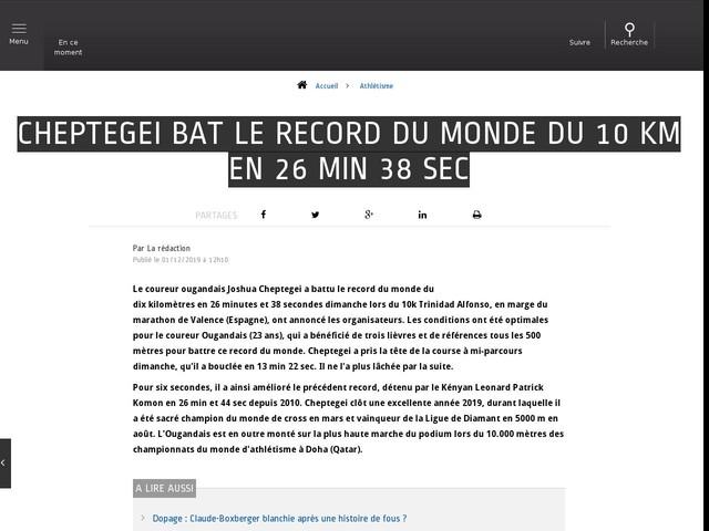 Athlétisme - Cheptegei bat le record du monde du 10 km en 26 min 38 sec