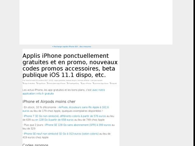 Applis iPhone ponctuellement gratuites et en promo, nouveaux codes promos accessoires, beta publique iOS 11.1 dispo, etc.