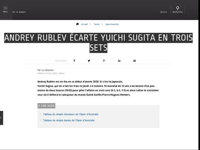 Tennis - Open Australie - Andrey Rublev écarte Yuichi Sugita en trois sets