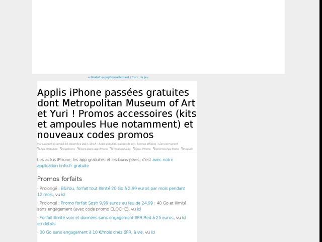 Applis iPhone passées gratuites dont Metropolitan Museum of Art et Yuri ! Promos accessoires (kits et ampoules Hue notamment) et nouveaux codes promos