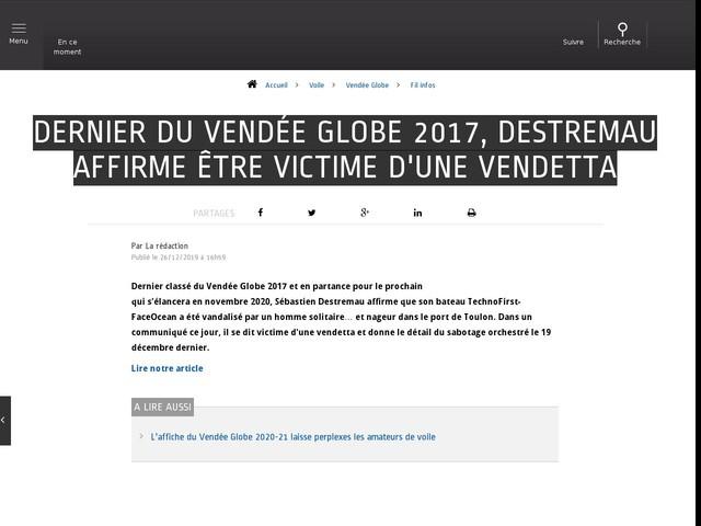 Voile - Vendée Globe - Dernier du Vendée Globe 2017, Destremau affirme être victime d'une vendetta