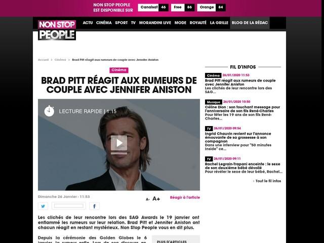Brad Pitt réagit aux rumeurs de couple avec Jennifer Aniston