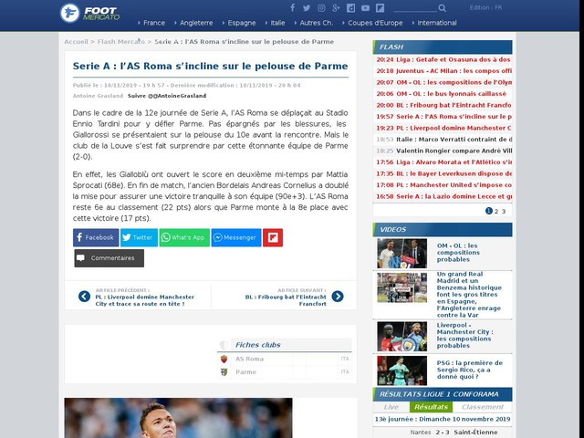 Serie A : l'AS Roma s'incline sur le pelouse de Parme