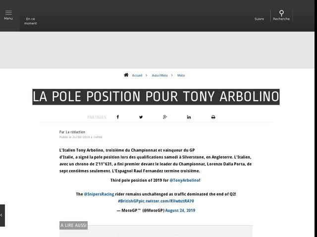 Auto/Moto - La pole position pour Tony Arbolino