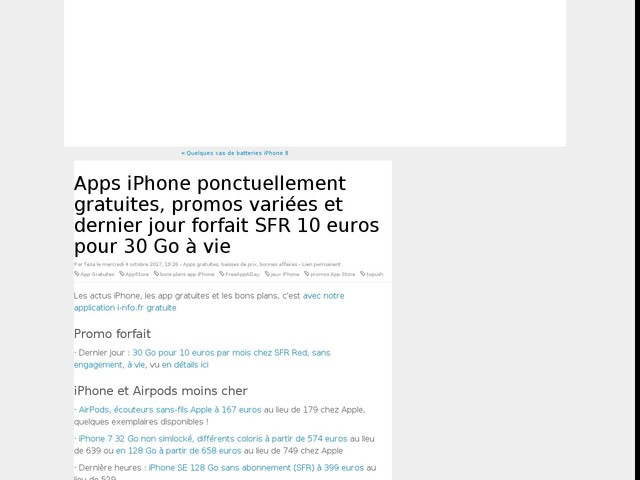 Apps iPhone ponctuellement gratuites, promos variées et dernier jour forfait SFR 10 euros pour 30 Go à vie