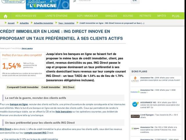 Crédit immobilier en ligne : ING Direct innove en proposant un taux préférentiel à ses clients actifs