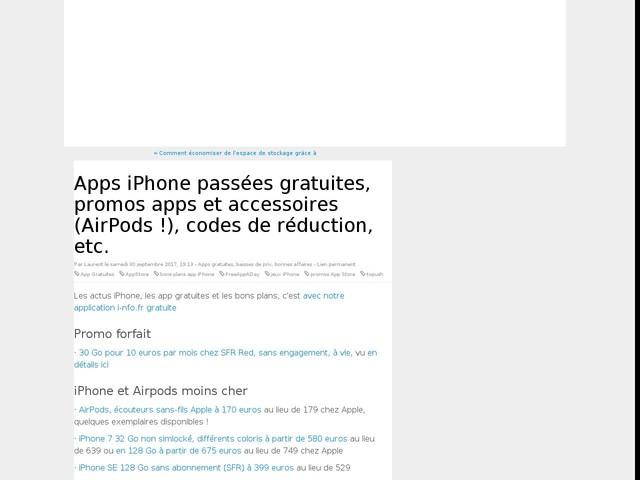 Apps iPhone passées gratuites, promos apps et accessoires (AirPods !), codes de réduction, etc.