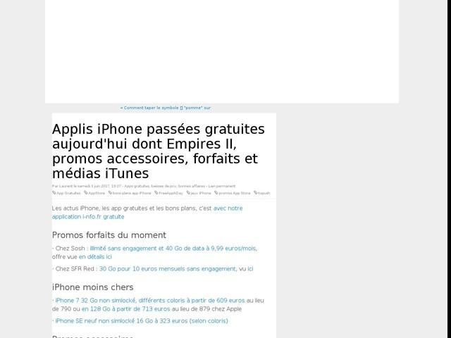 Applis iPhone passées gratuites aujourd'hui dont Empires II, promos accessoires, forfaits et médias iTunes