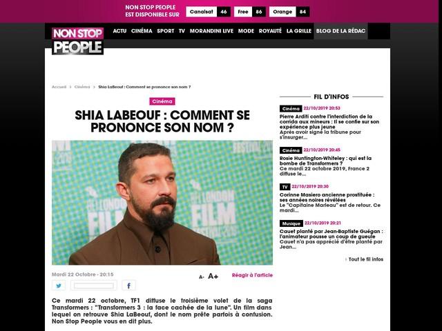 Shia LaBeouf : Comment se prononce son nom ?