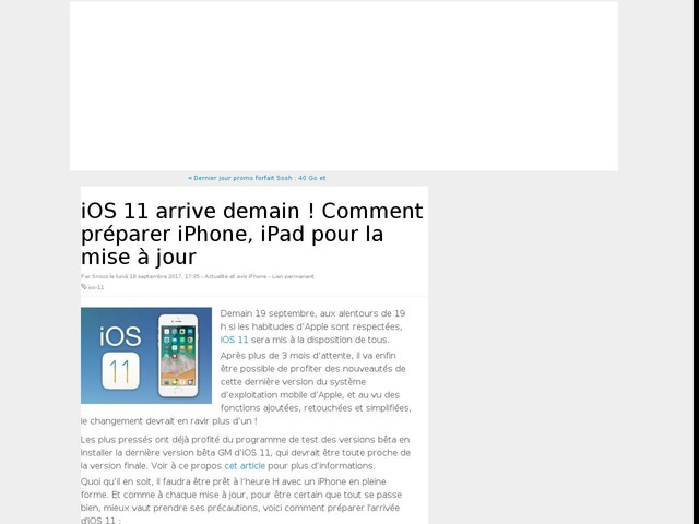 iOS 11 arrive demain ! Comment préparer iPhone, iPad pour la mise à jour