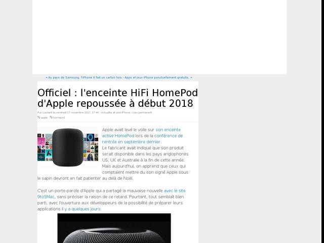 Officiel : l'enceinte HiFi HomePod d'Apple repoussée à début 2018