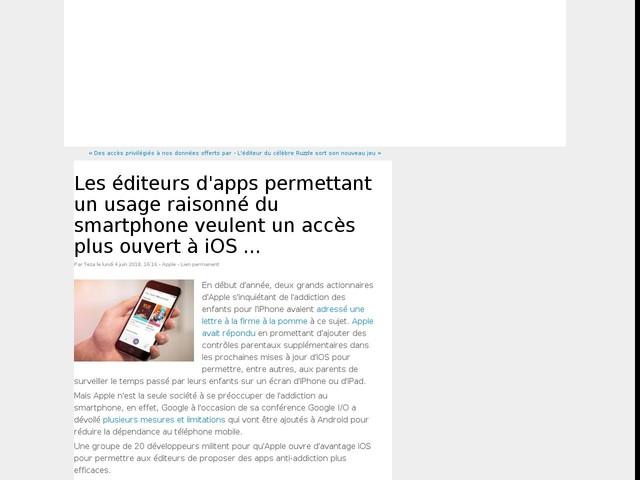 Les éditeurs d'apps permettant un usage raisonné du smartphone veulent un accès plus ouvert à iOS ...