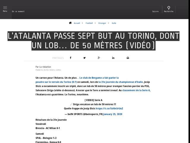 Football - Etranger - L'Atalanta passe sept but au Torino, dont un lob… de 50 mètres (vidéo)