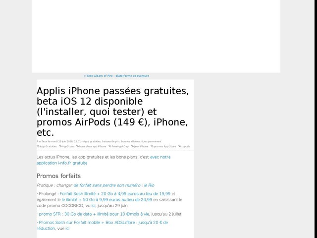 Applis iPhone passées gratuites, beta iOS 12 disponible (l'installer, quoi tester) et promos AirPods (149 €), iPhone, etc.