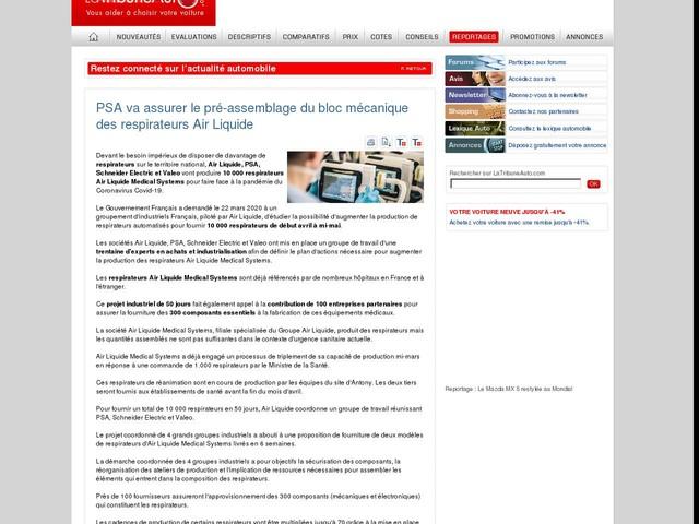 PSA va assurer le pré-assemblage du bloc mécanique des respirateurs Air Liquide
