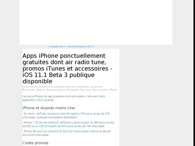 Apps iPhone ponctuellement gratuites dont air radio tune, promos iTunes et accessoires - iOS 11.1 Beta 3 publique disponible
