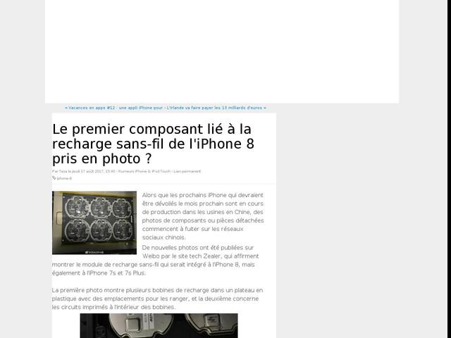 Le premier composant lié à la recharge sans-fil de l'iPhone 8 pris en photo ?