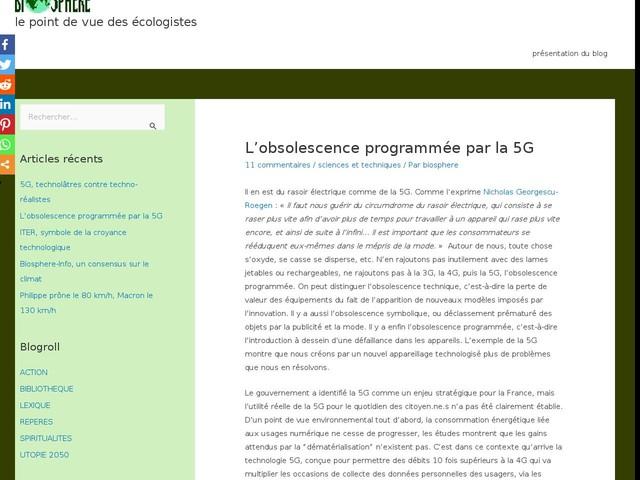 Commentaires sur L'obsolescence programmée par la 5G par Michel C
