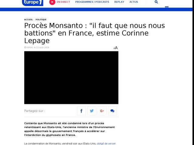 """Procès Monsanto : """"il faut que nous nous battions"""" en France, estime Corinne Lepage"""