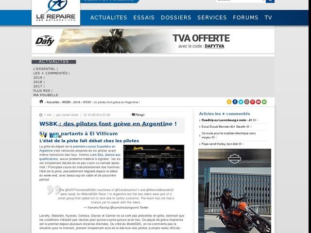 WSBK : six pilotes font grève en Argentine !