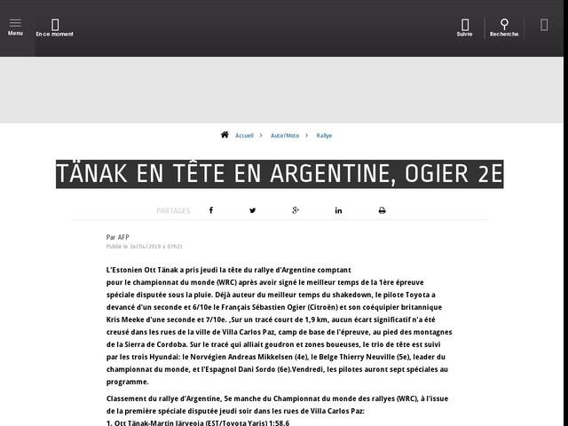Auto/Moto - Tänak en tête en Argentine, Ogier 2e