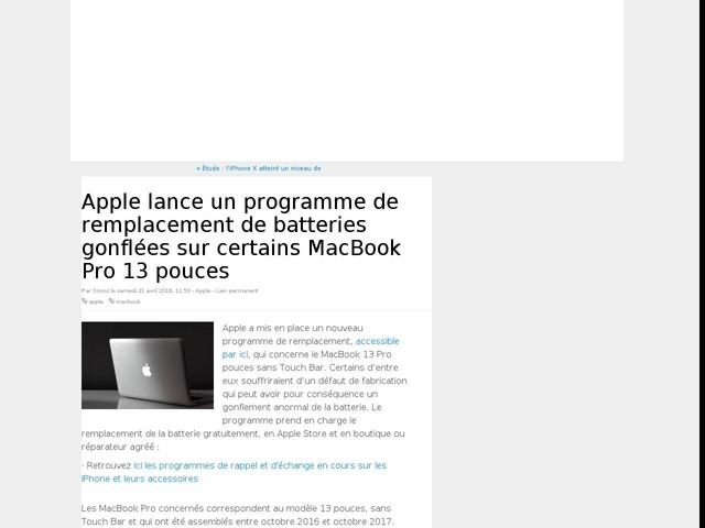 Apple lance un programme de remplacement de batteries gonflées sur certains MacBook Pro 13 pouces