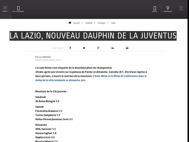 Football - Etranger - La Lazio, nouveau dauphin de la Juventus