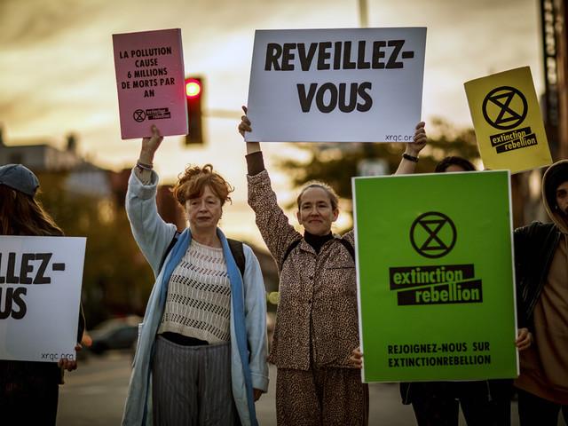 Des écologistes manifestent aux intersections