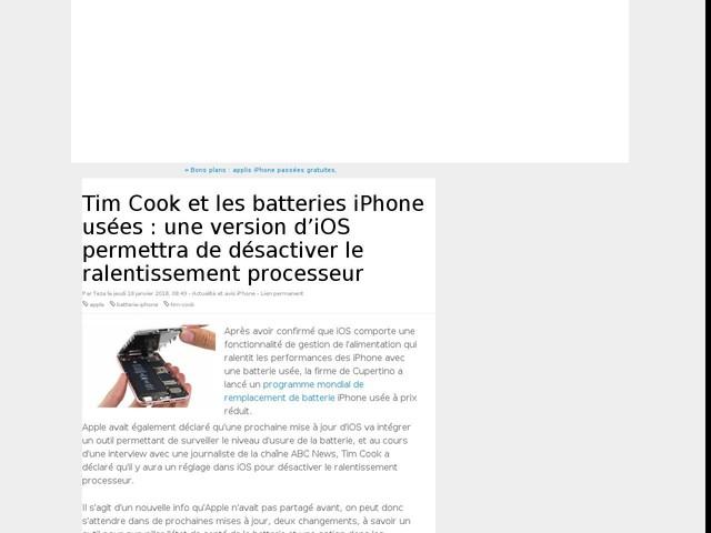 Tim Cook et les batteries iPhone usées : une version d'iOS permettra de désactiver le ralentissement processeur