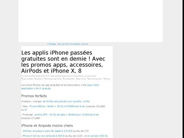 Les applis iPhone passées gratuites sont en demie ! Avec les promos apps, accessoires, AirPods et iPhone X, 8