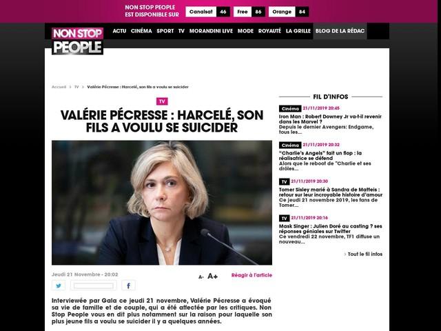 Valérie Pécresse : Harcelé, son fils a voulu se suicider