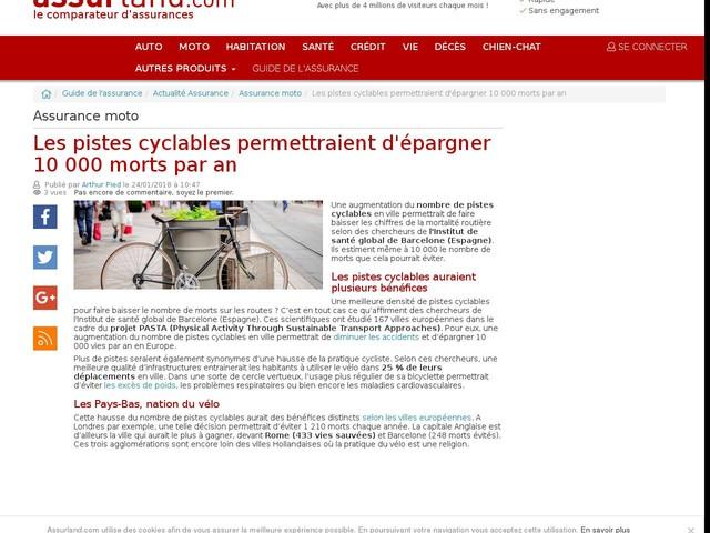 Les pistes cyclables permettraient d'épargner 10 000 morts par an
