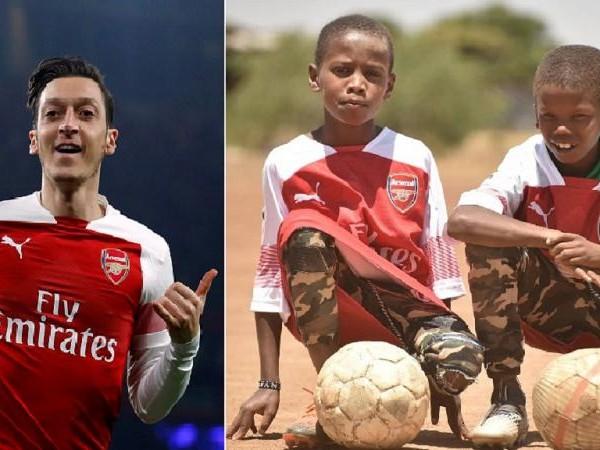 Photos: Arsenal's Ozil kits young Kenyan fans he 'met' on Twitter