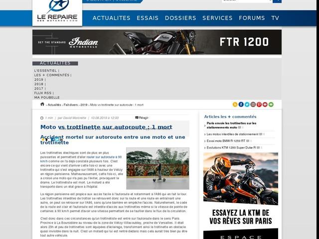 Moto vs trottinette sur autoroute : 1 mort