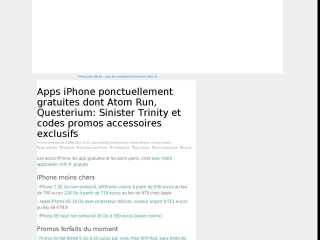 Apps iPhone ponctuellement gratuites dont Atom Run, Questerium: Sinister Trinity et codes promos accessoires exclusifs