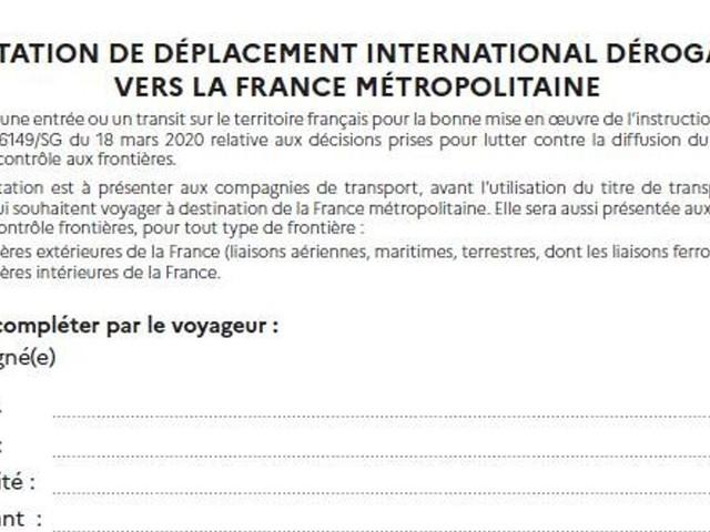 Une attestation désormais nécessaire pour entrer sur le territoire français