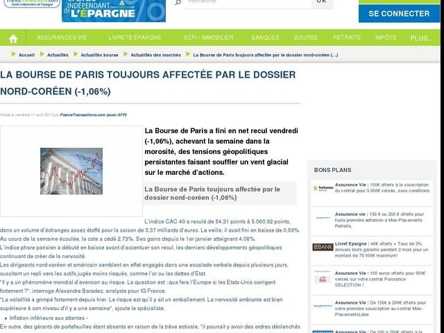 La Bourse de Paris toujours affectée par le dossier nord-coréen (-1,06%)