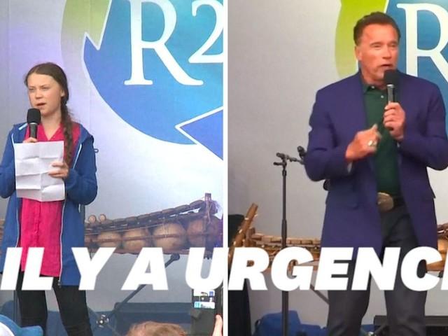 Greta Thunberg et Arnold Schwarzenegger unis pour le climat en Autriche