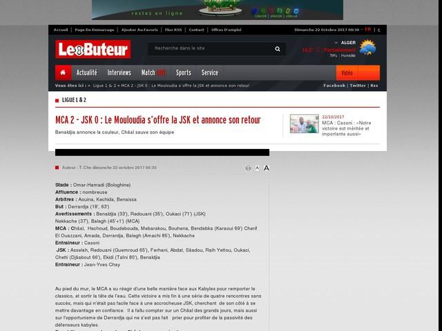 MCA 2 - JSK 0 : Le Mouloudia s'offre la JSK et annonce son retour