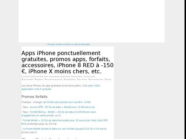 Apps iPhone ponctuellement gratuites, promos apps, forfaits, accessoires, iPhone 8 RED à -150 €, iPhone X moins chers, etc.