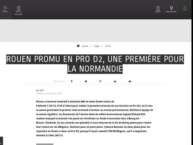 Rugby - Pro D2 - Rouen promu en Pro D2, une première pour la Normandie