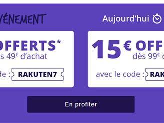 Bon Plan : Rakuten offre 7€ ou 15€ de réduction jusqu'à ce soir minuit