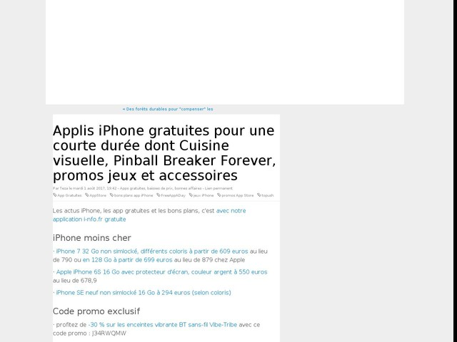 Applis iPhone gratuites pour une courte durée dont Cuisine visuelle, Pinball Breaker Forever, promos jeux et accessoires