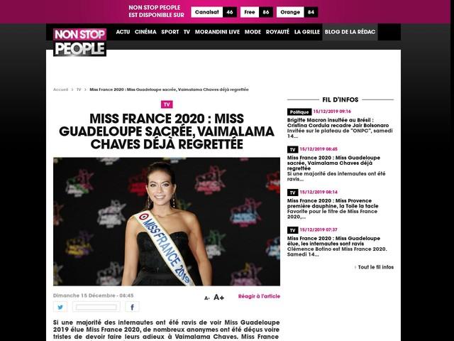 Miss France 2020 : Miss Guadeloupe sacrée, Vaimalama Chaves déjà regrettée